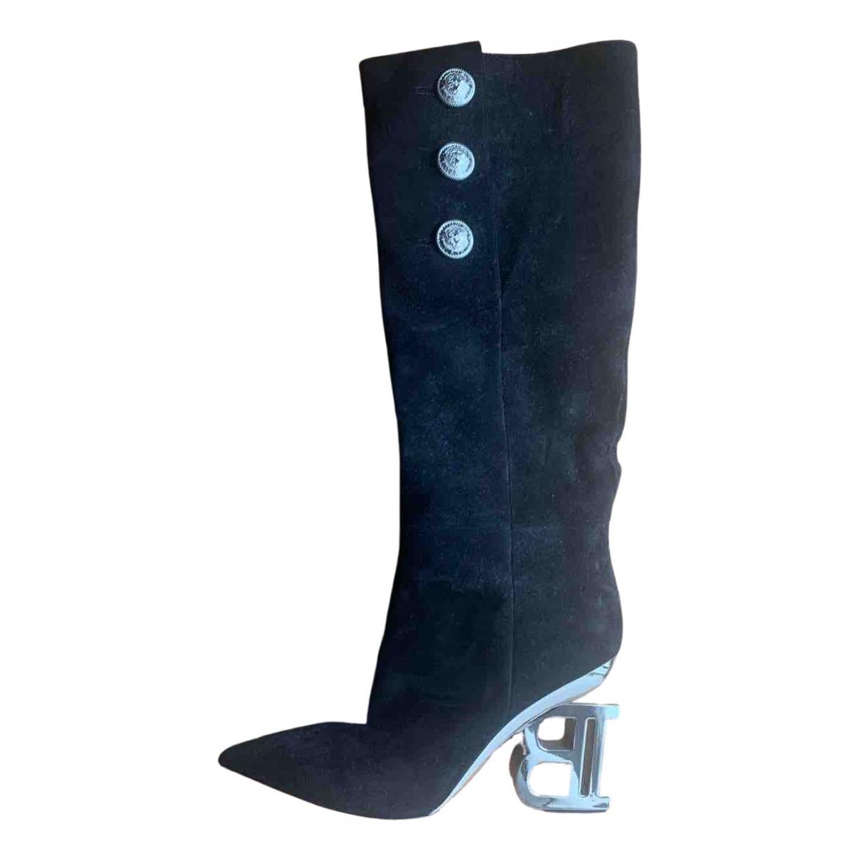 Balmain N Black Suede Boots for Women 36 EU