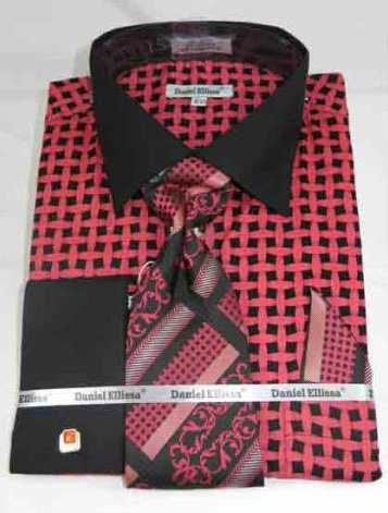 Mens Cotton Black Coral Weave Pattern French Cuff Dress Shirt