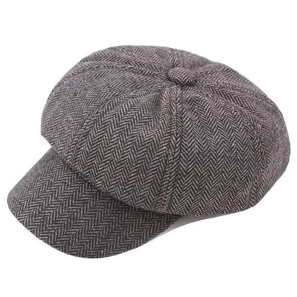 Women Men Vintage Stripe Cotton Blend Beret Caps Casual Sunshade Painter Cap Octagonal Cap