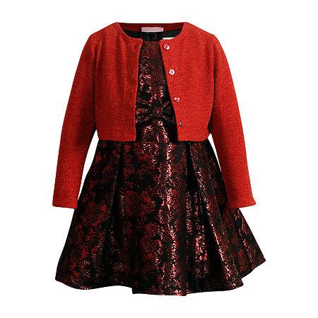 Emily West Little & Big Girls Sleeveless Cardigan Dress Set, 4 , Red