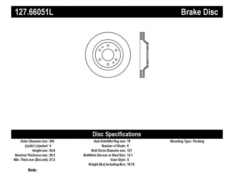 StopTech 127.66051L Sport Drilled/Slotted Brake Rotor; Front Left Front Left