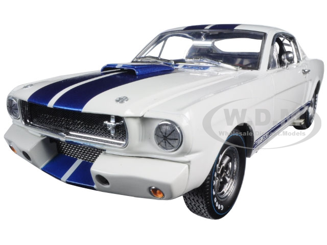 1965 Ford Mustang Shelby GT350R White with Blue Stripes and Printed Carroll Shelbys Signature on the Roof 1/18 Diecast Model Car by Shelby Collectibl