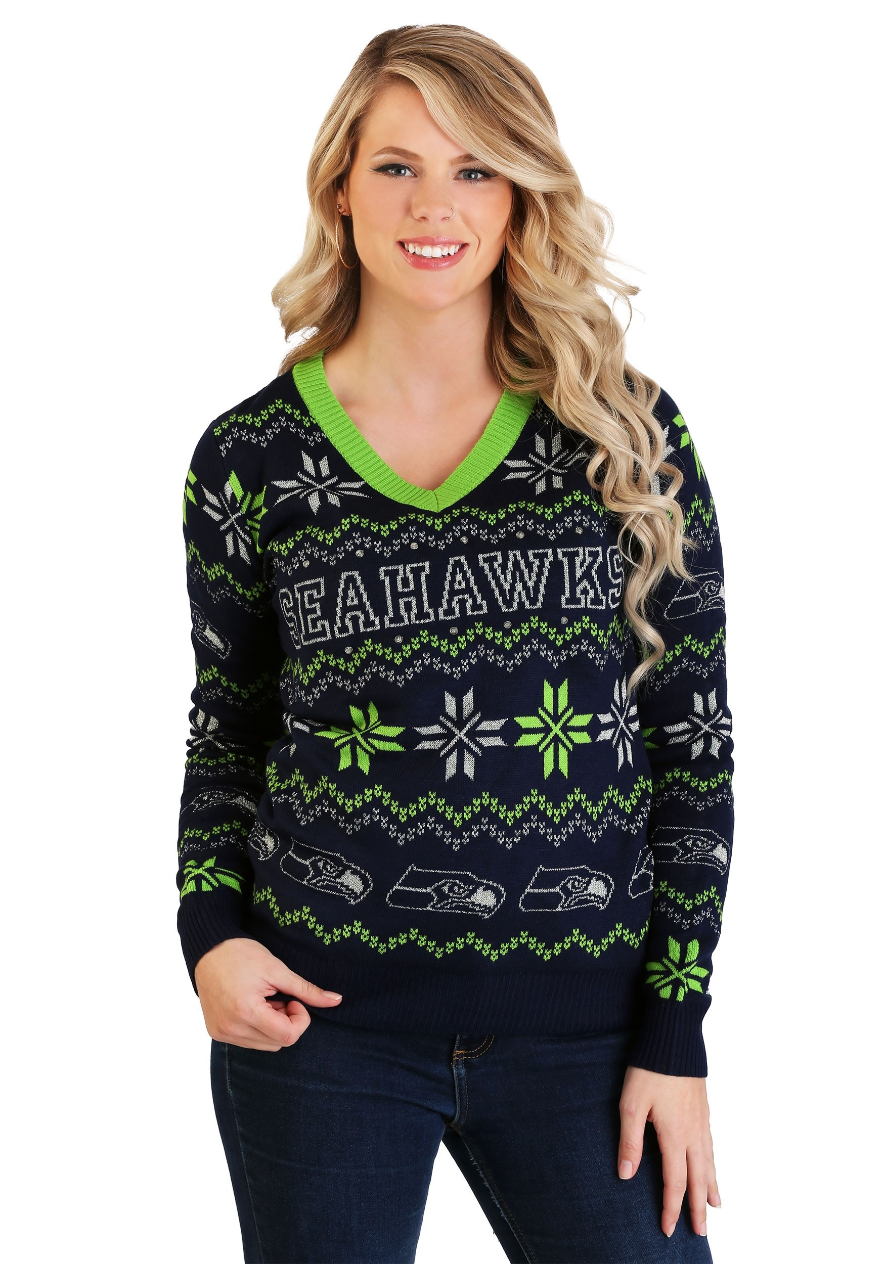 Seattle Seahawks Light Up V-Neck Bluetooth Sweater for Women