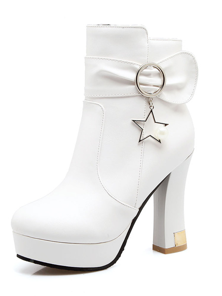 Milanoo High Heel Booties White Almond Bow Metal Detail Ankle Boots For Women