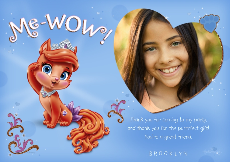 Kids Thank You Cards 5x7 Cards, Premium Cardstock 120lb, Card & Stationery -Me-WOW - Princess Palace Pets