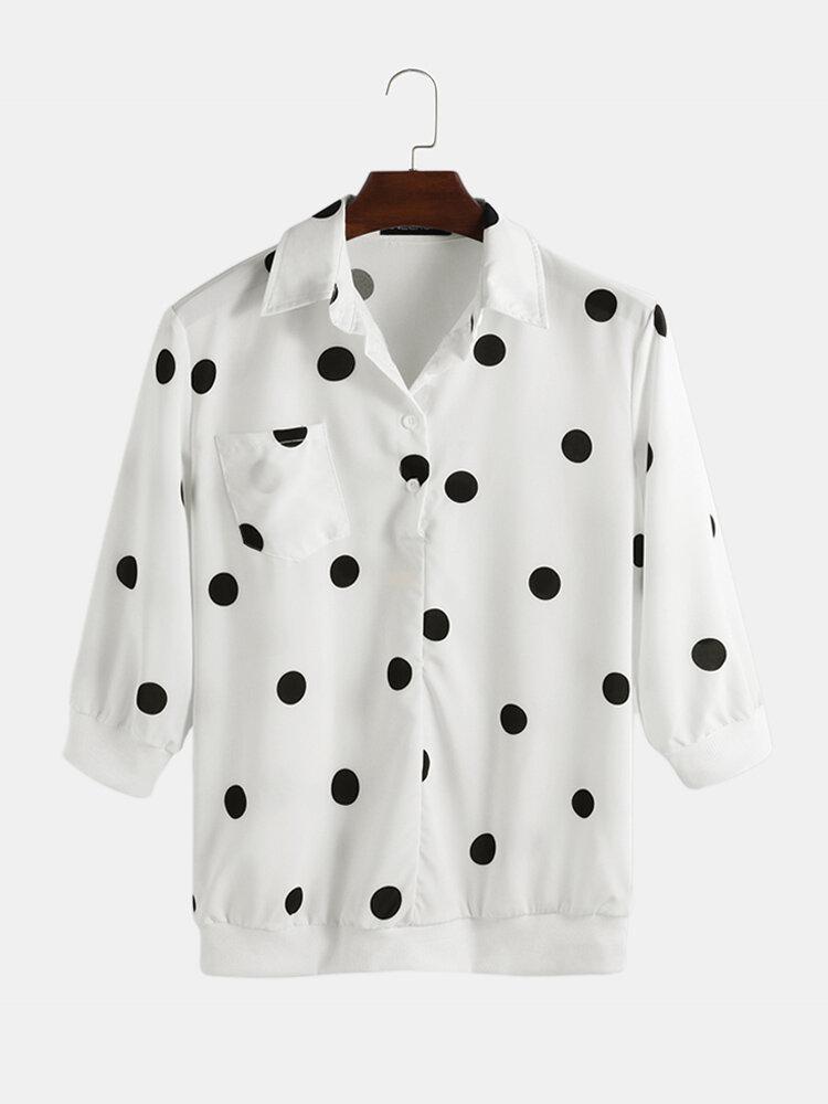 Mens Polka Dot Printing 3/4 Sleeve Designer Shirts