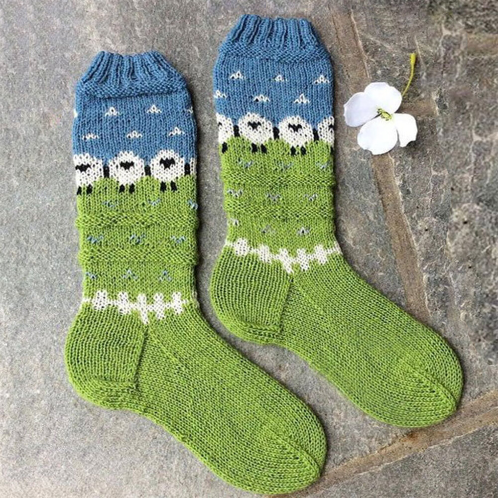 Women Socks Acrylic Socks Leg Stepping Knitted Christmas Boot Cover Floor Socks Autumn And Winter Warm Acrylic Socks