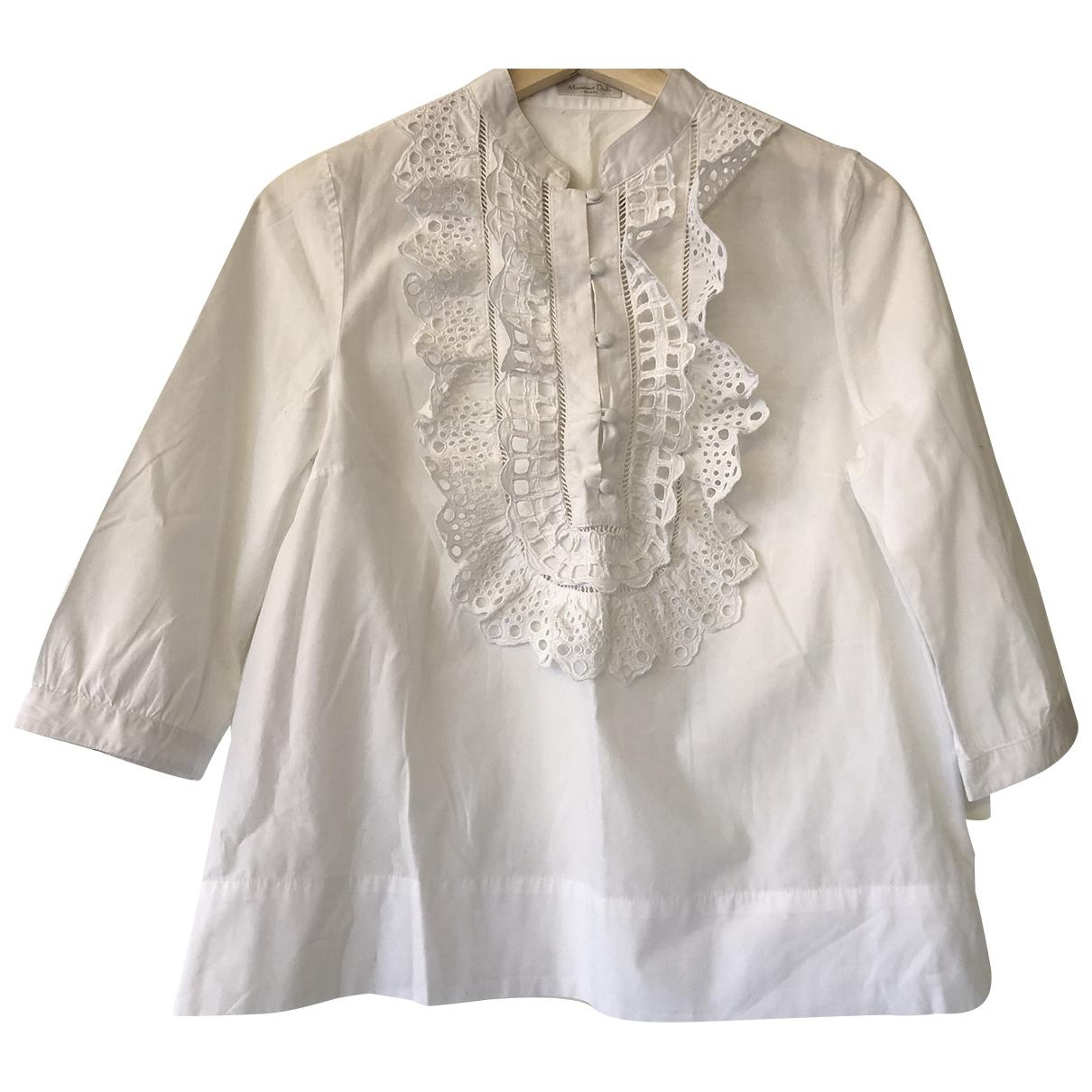 Massimo Dutti - Top   pour femme en coton - blanc