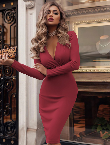 Milanoo Sexy Bodycon Dress Plunging Party Dress Long Sleeve Shaping Midi Dress