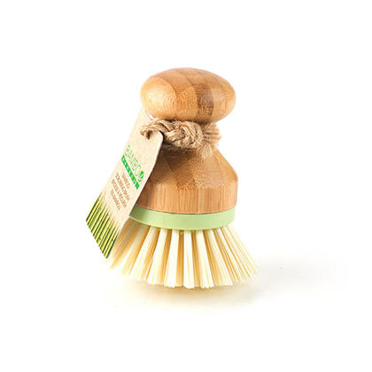 Natural Bamboo Mini Dish Cleaning Scrub Brush, Green