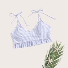 Striped Ruffle Hem Tie Shoulder Bikini Top