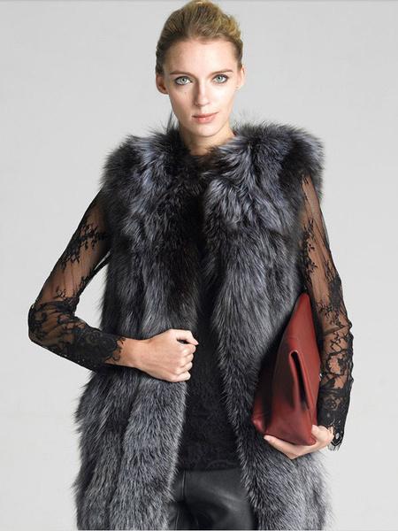 Milanoo Faux Fur Coat Women's Grey Sleeveless Jewel Neckline Winter Vest