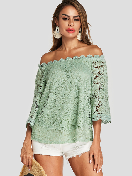 Yoins Green Lace Off The Shoulder Long Sleeves Blouse