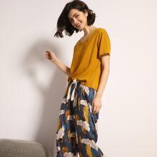 Einfarbiger Schlafanzug Set mit Kranich Muster