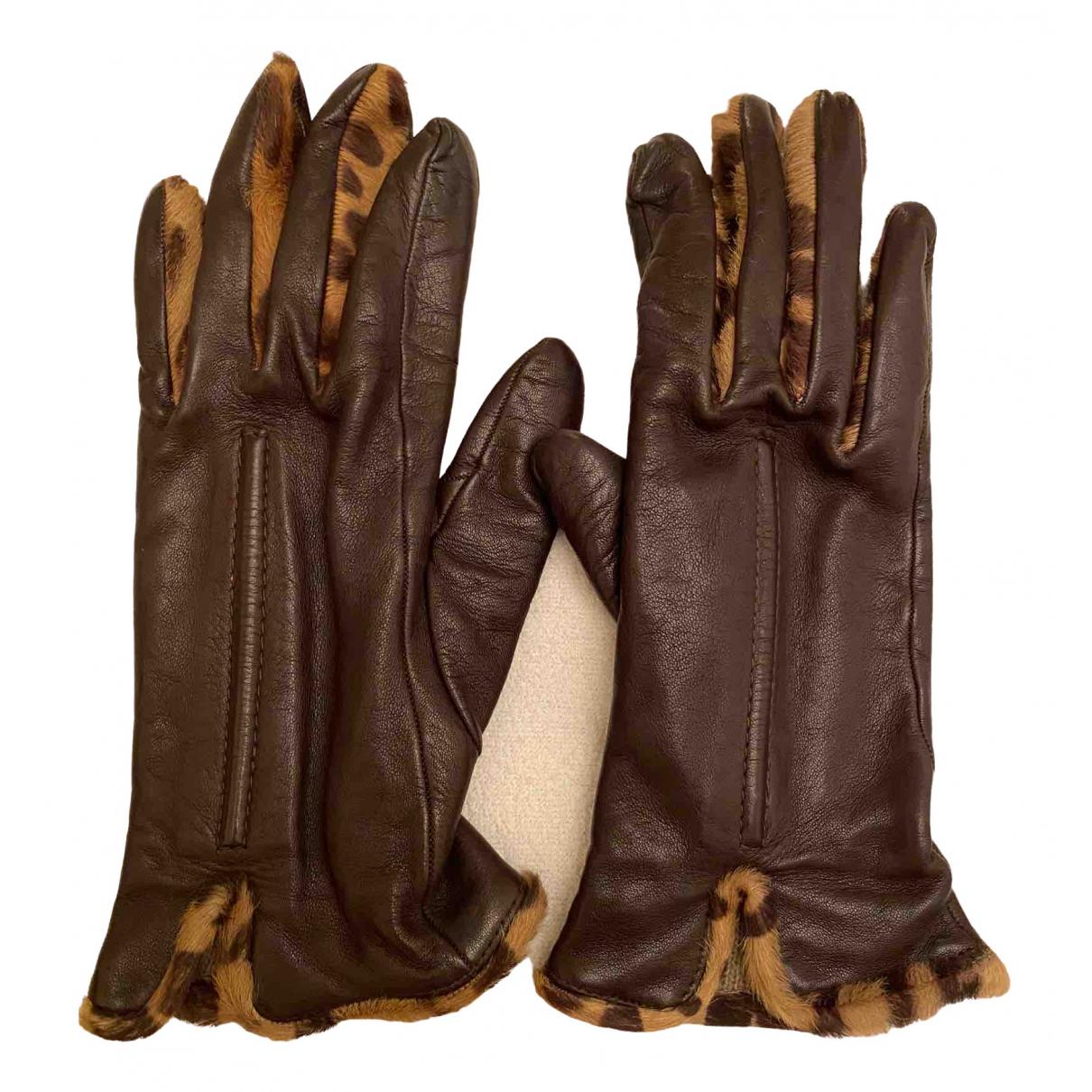 Sermoneta Gloves \N Brown Leather Gloves for Women 7 Inches