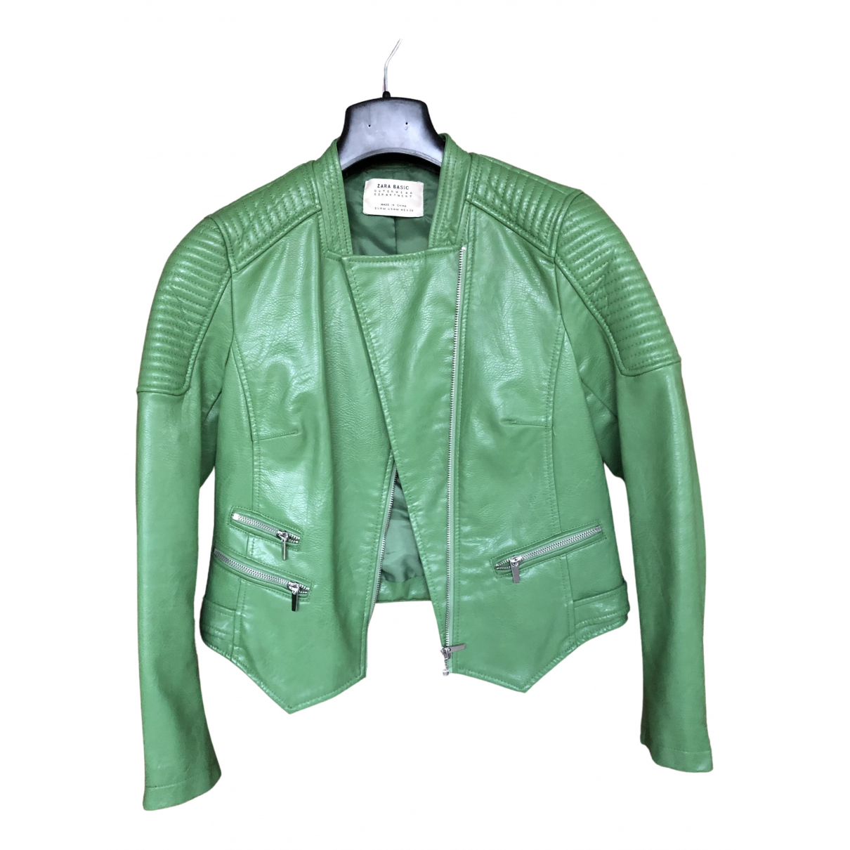 Zara \N Green Leather jacket for Women M International