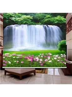 3D Turbulent Waterfalls and Beautiful Flowers Printed Natural Style Polyester Blackout Curtain