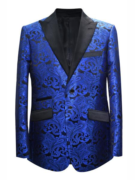 Mens 2 Button Paisley Designed Peak Lapel Royal Sport Coat Blazer