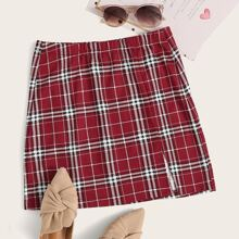 Plus Split Hem Tartan Skirt
