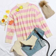 Zweifarbiger gerippter Strick Pullover mit Streifen