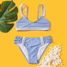 Girls Lace Trim Ruched Detail Bikini Swimsuit