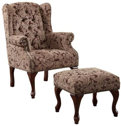 Accent Seating Collection 3932B Wing Back Chair and Ottoman Set with Nail Head Trim  Rolled Arms  Cabriole Legs and Chenille Upholstery in Warm Brown