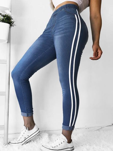 Yoins Side Pockets Ribbon Stretch Waistband Tight Feet Pants