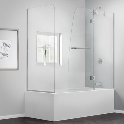 SHDR-3148586-RT-01 Aqua 56-60 In. W X 30 In. D X 58 In. H Frameless Hinged Tub Door With 30 In. Return Panel In