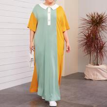 Grosse Grossen - Kleid mit Peter Pan Kragen, Knopfen vorn und Farbblock