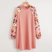Vestido de manga raglan floral