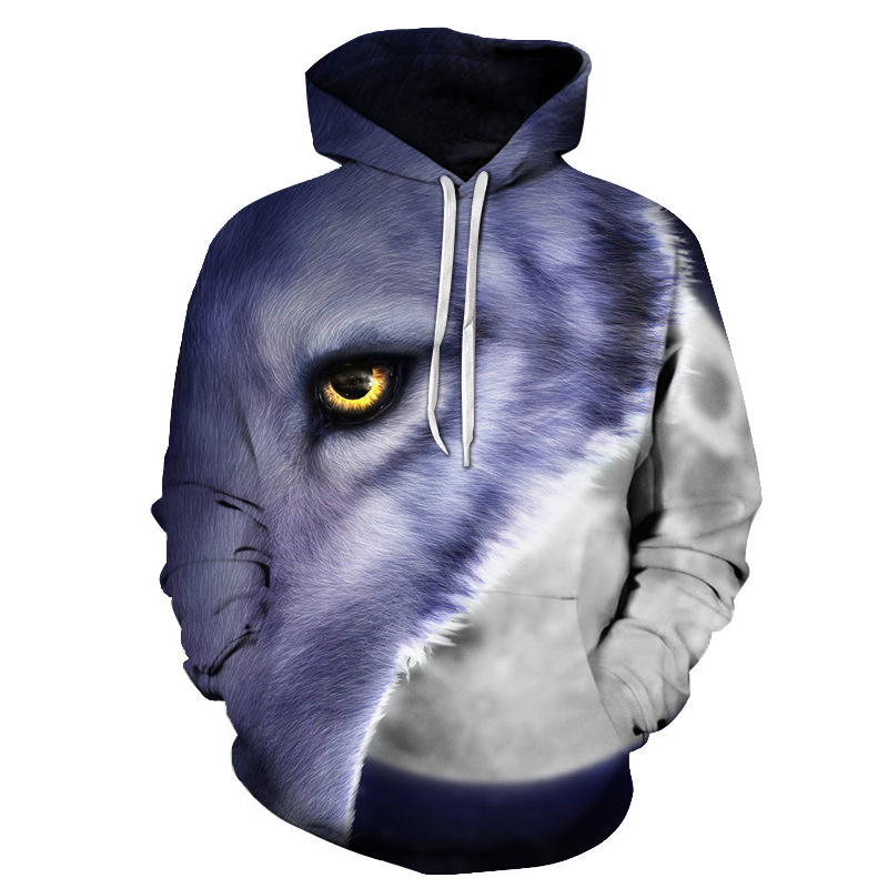 Animal Pullover Garment Dyed Loose Men's Hoodies Soft Breathable Fabric Allows Moisture Wicking Machine Washable No pilling No Fading
