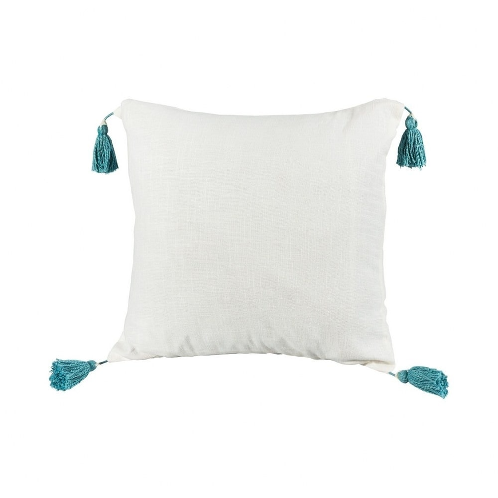 Cream Pillow with Teal Tassles 20x20-inch Pillow Cover Only Cameo Blue/Off White Colors  Cameo (Cover Only - Cameo Blue/Off White - Pillow Covers)