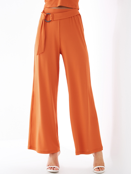 YOINS Orange High-Waisted Belt Design Wide Leg Pants