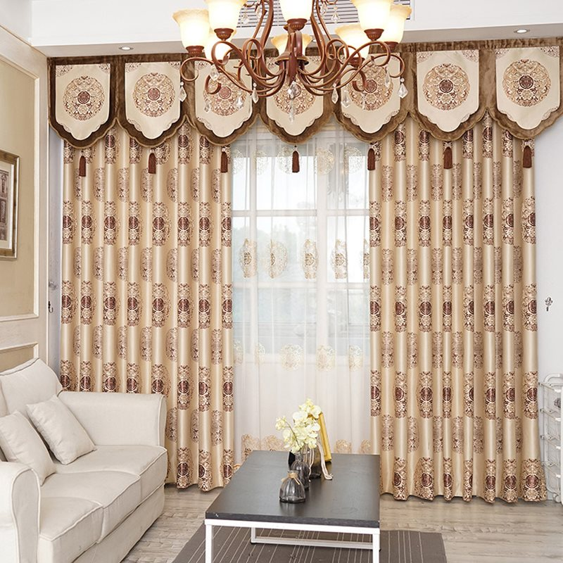 Luxury Golden Pattern Royal Style High Quality Chenille Curtains 2 Panels For Living Room