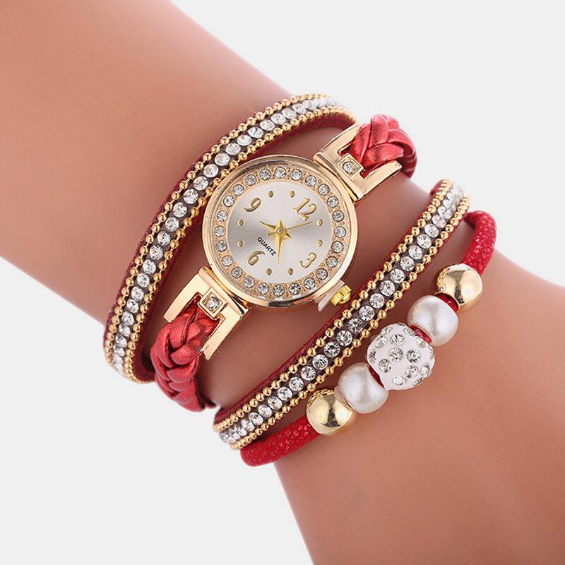 Ethnic Temperament Hand-woven Belt Multi-layer Watch Metal Rhinestone Beaded Pendant Watch