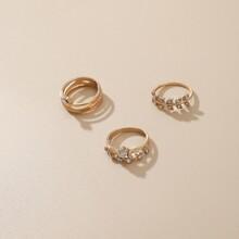 3 Stuecke Ring mit Strass Dekor