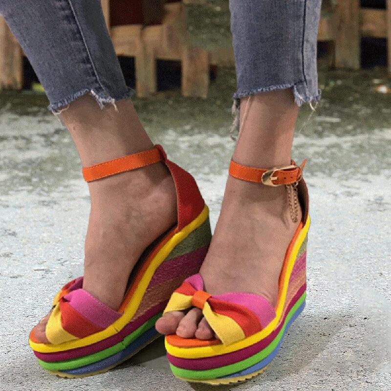 Women Fashion Rainbow Buckle Strap Peep Toe Straw Platform Heel Heel Sandals