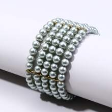 Faux Pearl Beaded Layered Bracelet