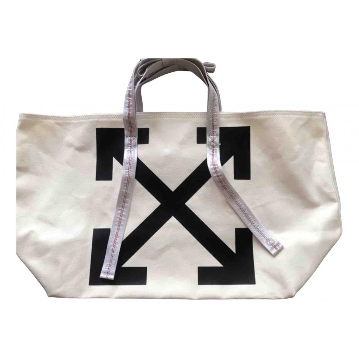 Off-white \N Handtasche in  Weiss Leinen