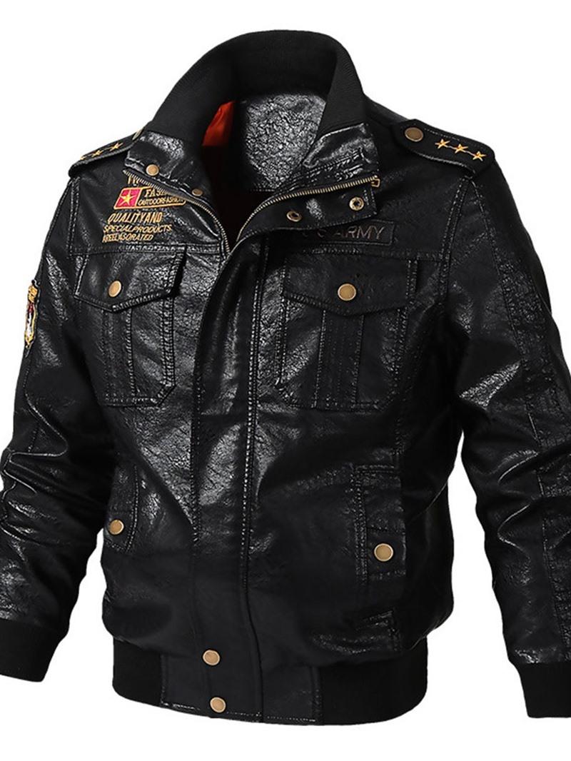 Ericdress Patchwork Color Block Stand Collar Zipper Men's Casual Jacket