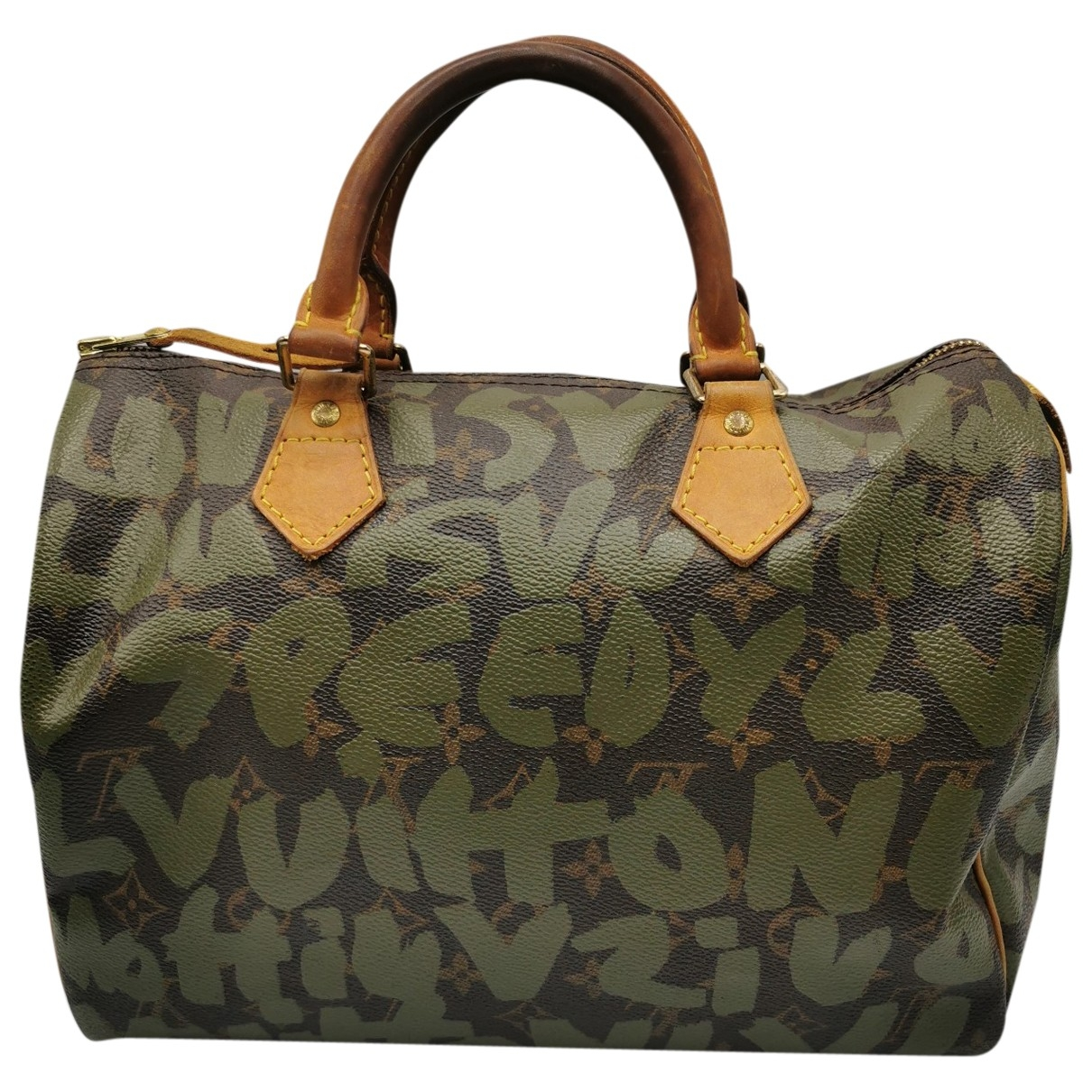 Louis Vuitton Speedy Handtasche in  Gruen Leinen