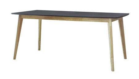Crossett Collection 192801 Dining Table with Natural Wood Base and Mid Century Modern Style in Black/Natural