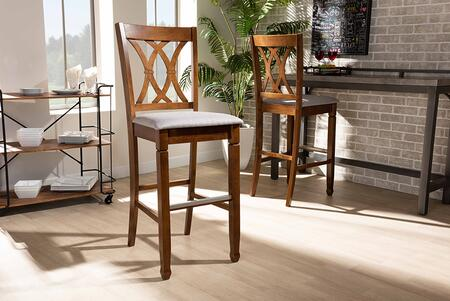 Calista Collection RH316B-GREY/WALNUT-BS Modern and Contemporary Grey Fabric Upholstered and Walnut Brown Finished Wood 2-Piece Bar Stool