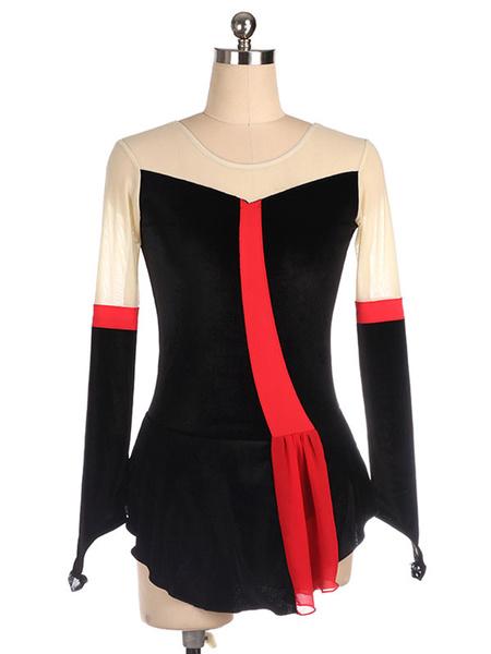 Milanoo Vestido de patinaje Trajes de baile en bloque de color de terciopelo coreano negro