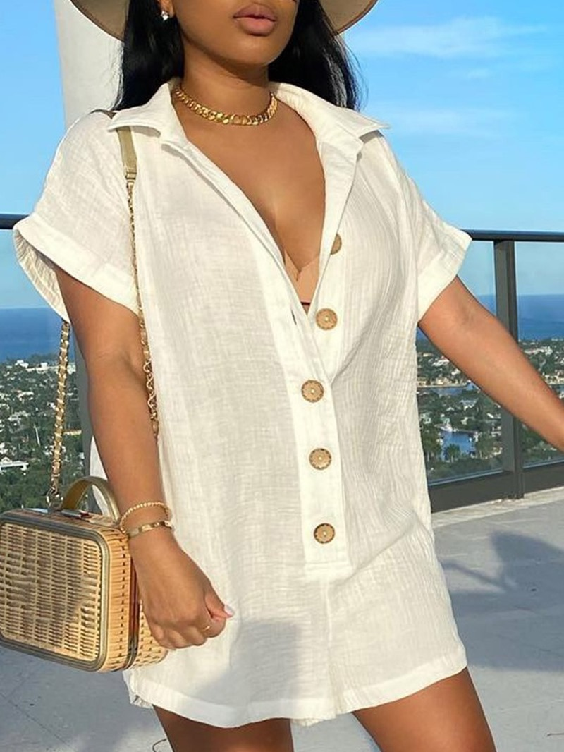 Ericdress Plain Lapel Regular Mid-Length Short Sleeve Blouse