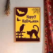 Leinwandbild mit Halloween Buchstaben Grafik ohne Rahmen