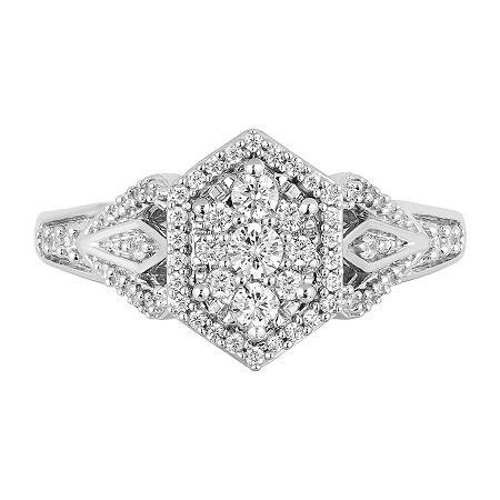 Enchanted Disney Fine Jewelry Womens 1/2 CT. T.W. Genuine Diamond 10K White Gold Round Disney Princess Promise Ring, 7 , No Color Family