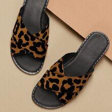 Stud Accent Leopard Cross Over Strap Slide Sandals