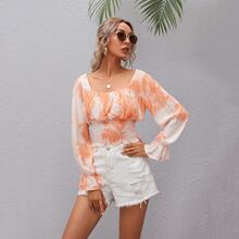 Ruched Bust Bell Sleeve Tie Dye Shirred Waist Top