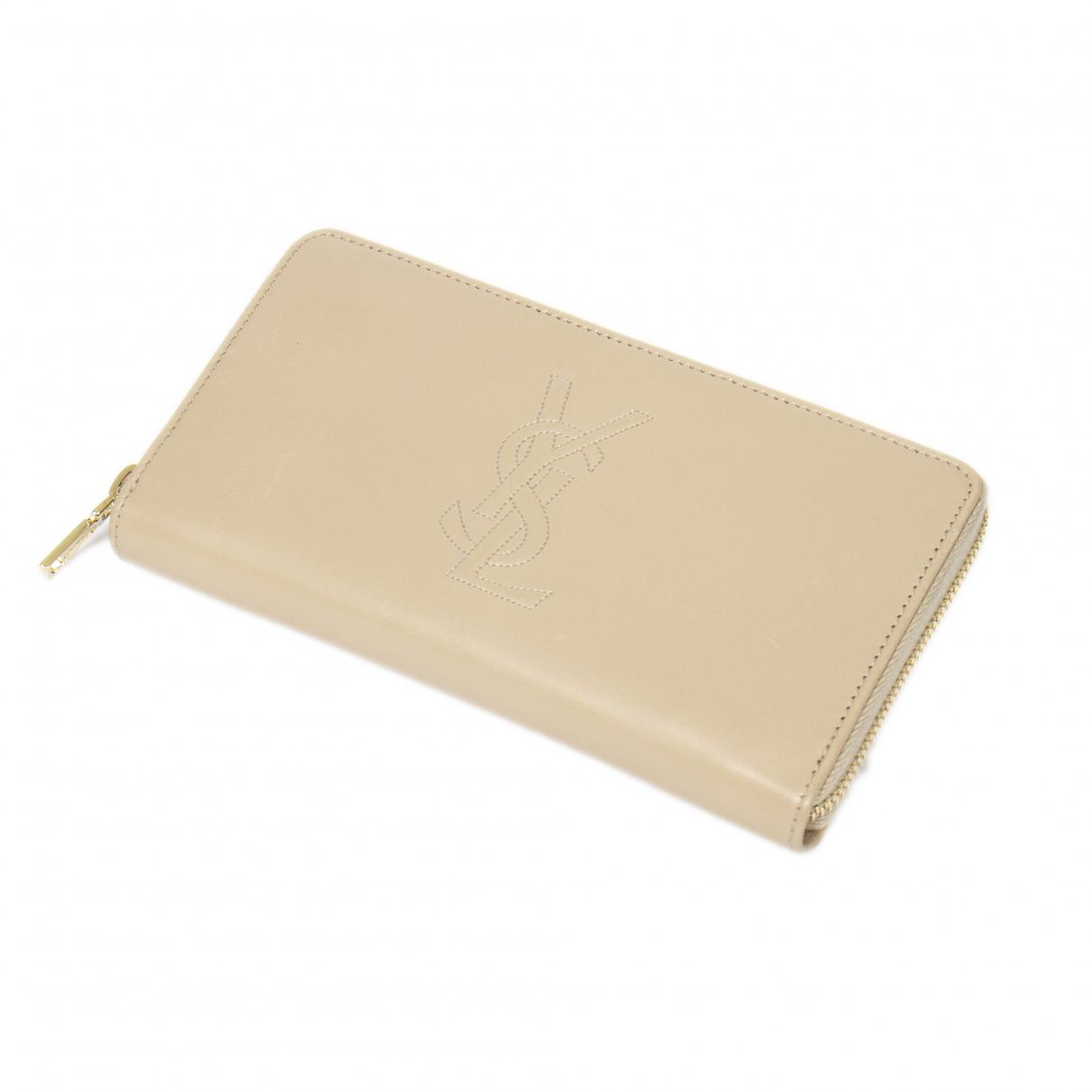 Yves Saint Laurent - Portefeuille   pour femme en cuir - beige